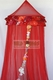 Bed Canopy Red Silk Sari Patchwork