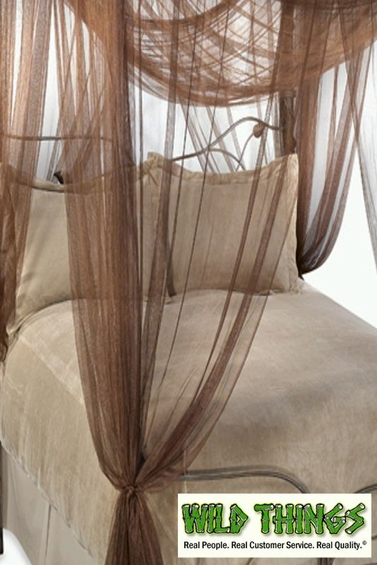 Bed Canopy,  Romantic Cabana  4 Point, Brown  Luxury Quality