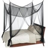 "Bed Canopy ""Romantic Cabana"" Four Point Mosquito Net, BLACK  Luxury Quality"
