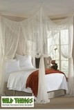 Bed Canopy  Romantic Cabana  Four-Point Mosquito Net - Bright White  Luxury Quality