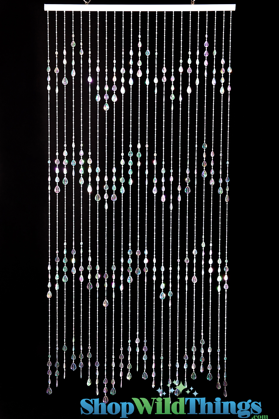 Crystal Iridescent Beaded Curtains Backdrop, Big Teardrops 6 Feet Long
