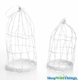 Bird Cages - White - Set of 2 - Fabric & Wire Bendable!
