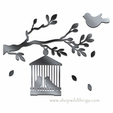 "Birdcage and Branch Plexi Mirrored Adhesive Wall Art 14.5"" x 15"""
