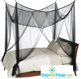 Black Bed Canopy, 4 Point Mosquito Net,  High Quality  King/Queen