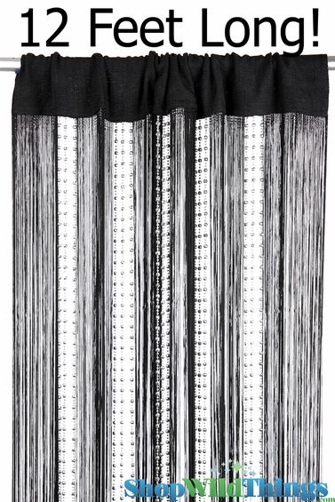 CLEARANCE! Black String & Sparkling Bead Mix Curtain 3 ft x 12 ft - Rayon