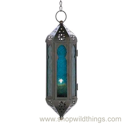 "Sale - Blue Moroccan Hanging Candle Lantern ""Delilah"""