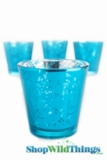 "Mercury Glass Candle Holders - ""Lydia"" Blue -  Set of 12"