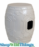 """Blush"" Ivory Ceramic Garden Stool 17.5"""
