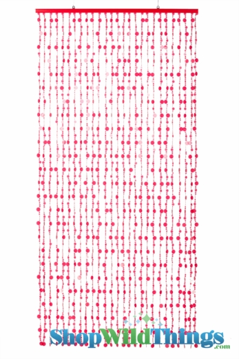 Bubbles  Cherry Red  Non-Iridescent Beaded Curtain