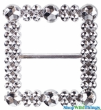 "Square Buckle 2"" - Set of 10 Sparkling ""Diamond"" Buckles"