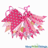 Bunting -  Paper Flag & Beads -  Pink Glitter - 11 Feet Long