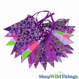 Bunting -  Paper Flag & Beads -  Purple Glitter - 11 Feet Long