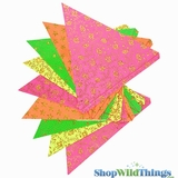 Bunting -  Paper Triangle -  Neon Glitter - 11 Feet Long