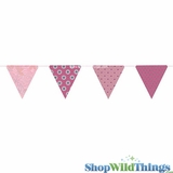 Bunting -  Paper Triangle -  Pink Glitter - 11 Feet Long