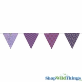 Bunting -  Paper Triangle -  Purple Glitter - 11 Feet Long