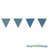 Bunting -  Paper Triangle -  Turquoise Glitter - 11 Feet Long
