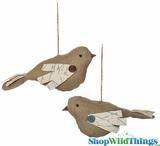 "Large Burlap Birdies Pair 8"" (Set of 2 Asst)"