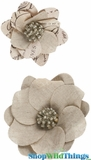 Burlap Jute Flower Clips (Set of 2 Asst) 3-4""