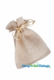 "Burlap Pouches 4"" Wide x 7"" Tall - Natural - 12 Pieces"