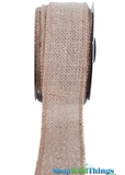 "Burlap Ribbon with Silver Metallic Zari Thread - 1.5"" x 10 yards"