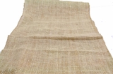 "Burlap Table Runner 13 x 72"" - Brown With Gold Metallic Zari Thread"