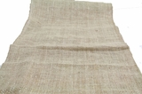 "Burlap Table Runner 13 x 72"" - Brown With Silver Metallic Zari Thread"