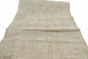 "CLEARANCE - Burlap Table Runner 13 x 72"" - Brown With Silver Metallic Zari Thread"