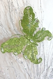"Butterfly Jewel Clip 6"" - Green Glitter w/ Crystal Jewels"