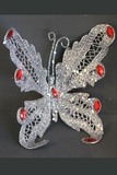"Butterfly Jewel Clip 6"" - Silver Glitter w/ Red Jewels"