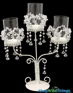 """Cadence"" Triple Tabletop Candelabra - Princess Crowns"