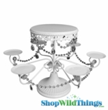"Cake & Cupcake Stand, White with Crystal Beads 19"" x 12"""
