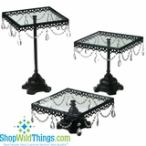Cake Stands - Set of 3  Black Iron & Glass w/ Crystal Beads