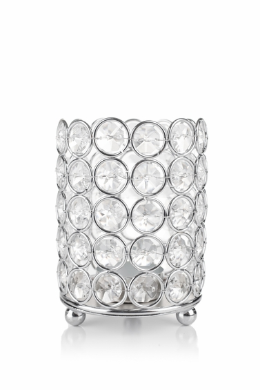 "Candle Holder - Cylinder Beaded Real Crystal - ""Prestige"" -  Crystal Gem Pillar -  4 1/2"" Silver"