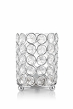 "Candle Holder - Cylinder Beaded Crystal - ""Prestige"" -  Crystal Gem Pillar -  4"""