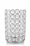 "Candle Holder - Cylinder Beaded Crystal  - ""Prestige"" - Crystal Gem Pillar -  6"""