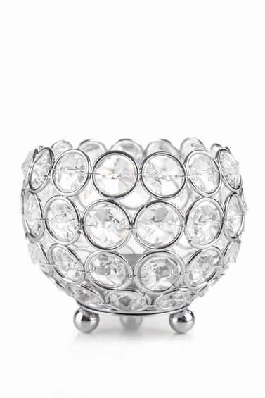 """Candle Holder - Round Real Beaded Crystal Votive -  """"Prestige"""" -  4"""" Silver"""