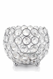 "Candle Holder - Round Beaded Crystal Votive -  ""Prestige"" -  5"""
