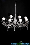 "CLEARANCE Candle Chandlier ""Windsor"" - 8 Lights - Silver Branches & Crystal Beads 28"" x 29"""