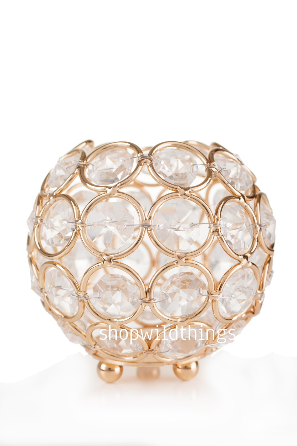 Candle Holder Real Crystal Beaded - Gold - Wedding and Event Votive ...
