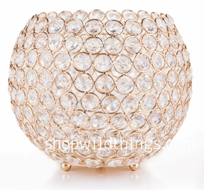 """Coming Soon!  Candle Holder - Beaded Real Glass Crystal - 7"""" High x 8"""" Diameter -  Round - Gold """"Carlyle"""""""