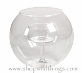 "Candle Holder Bowl, Clear Round Glass - ""Alina"" - 2.75"" x 3.5"""