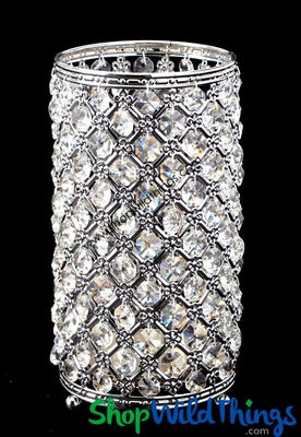 Crystal Beaded Candle Holder 10 Quot Vintage Silver