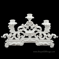Candle Holder Faux Porcelain PolyResin Fancy 3 Taper Holder