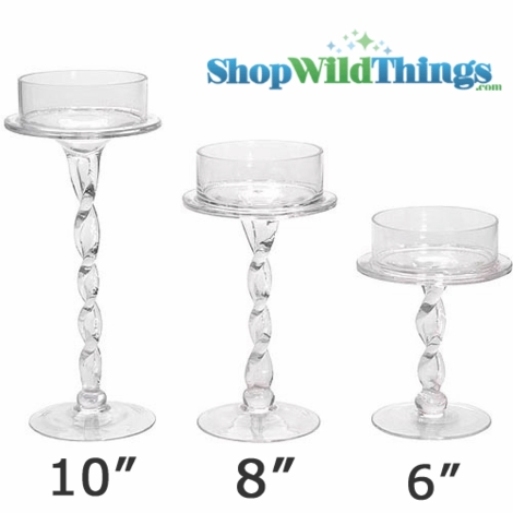 """Candle Holder, Glass, Twisted Stand, 10"""""""