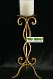 """Candle Holder - Gold Metal Scroll 14"""" Tall"""