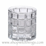"Candle Holder - Grid Pattern Clear Glass - ""Carlina"" - 4"" x 4"""