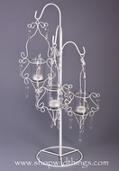 "Candle Holder - ""Jacqueline"" - White Metal w/ Acrylic Beads & 3 Candle Cups 24"" Tall"