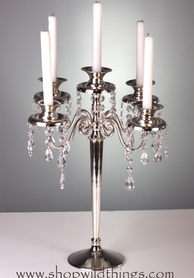 "CLEARANCE! Candle Holder ""Maryellen"" - 5 Arms - 17.5"" Silverplated with Sparkling Beads"