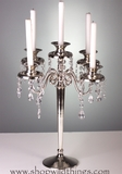 """Candle Holder """"Maryellen"""" - 5 Arms - 17.5"""" Silverplated with Crystals"""