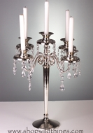"Candle Holder ""Maryellen"" - 5 Arms - 17.5"" Silverplated with Crystals"